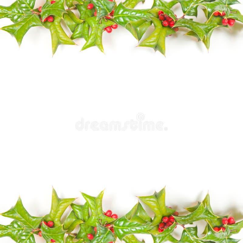 Weihnachtsgrüner Rahmen getrennt auf Weiß lizenzfreies stockbild