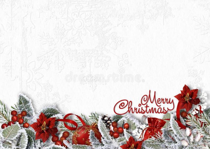 Weihnachtsgrenze auf weißem Hintergrund mit schneebedeckten Niederlassungen, poinset lizenzfreie abbildung