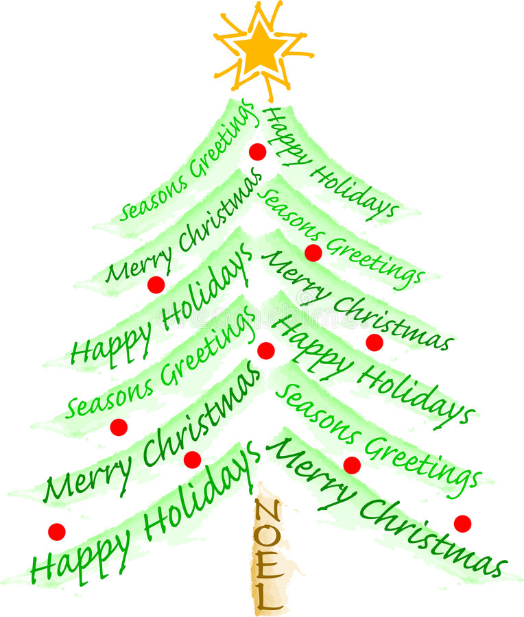 Weihnachtsgruß-Baum vektor abbildung