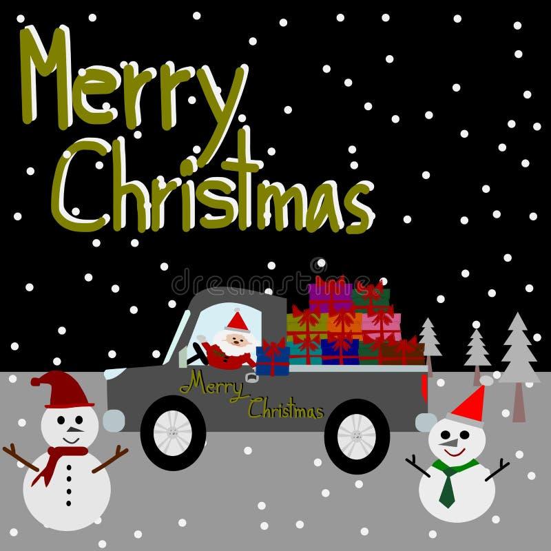 weihnachtsgru karte frohe weihnachten santa claus auf dem auto stock abbildung illustration