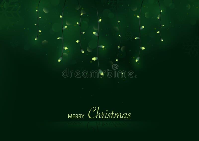 Weihnachtsgruß-Karte mit den hängenden und glühenden Weihnachtslichtern stock abbildung