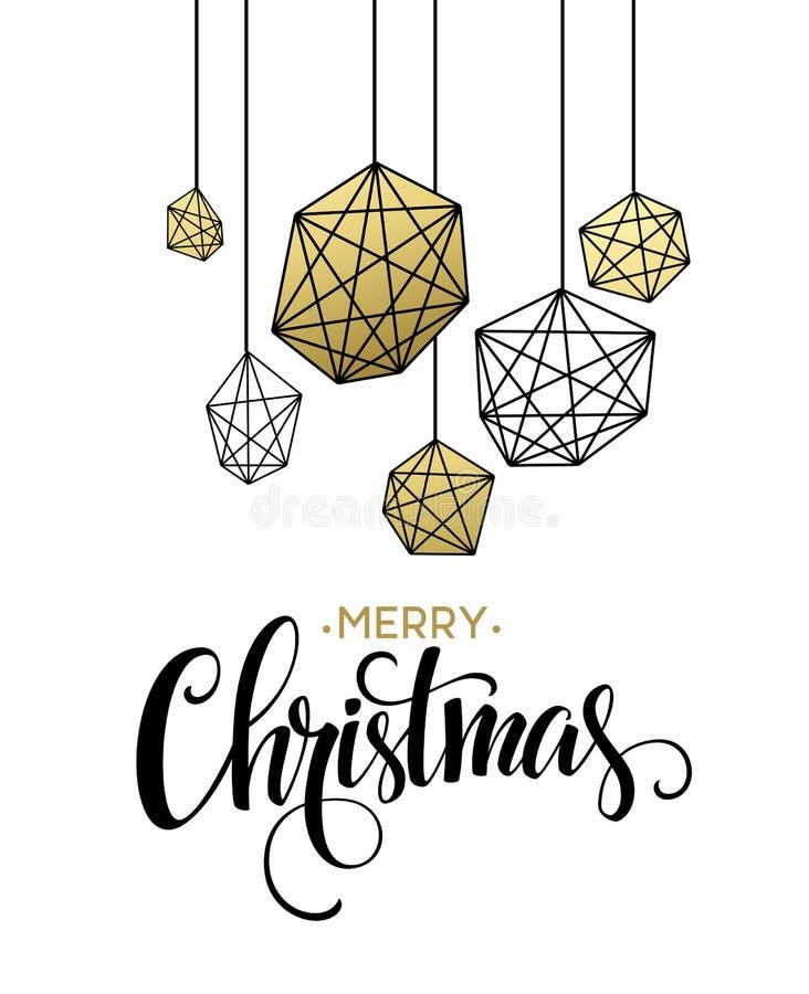 Weihnachtsgruß-Karte Mit Handdrawn Beschriftung Goldene ...