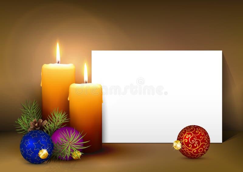 Weihnachtsgruß-Karten-Schablone mit Weißbuch-Platte stock abbildung