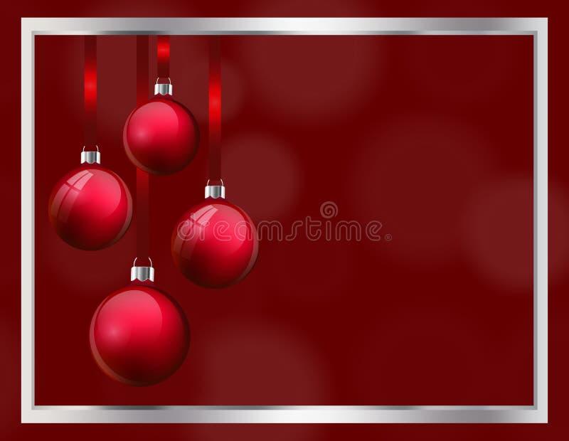 Weihnachtsgruß-Kartenentwurf mit realistischen roten Glasweihnachtsbällen Flitter 3d, der am Seidenband vom Silber hängt lizenzfreie abbildung