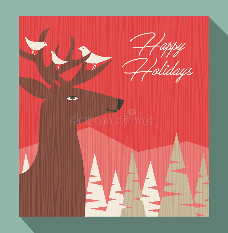 Weihnachtsgruß mit Rotwild und Vögeln lizenzfreie abbildung