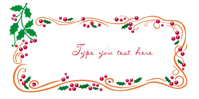 Weihnachtsgrußfeld mit Mistel stock abbildung