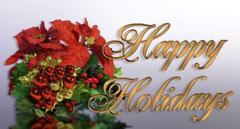 Weihnachtsgrußkarte 3D Goldtext vektor abbildung