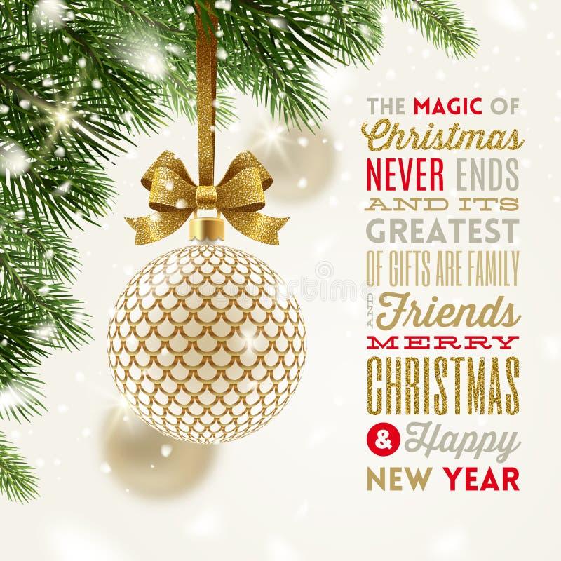 Weihnachtsgrußkarte - kopierter Flitter mit dem Funkelngoldbogen, der an einem Weihnachtsbaum und an einer Art Entwurfsgruß hängt stock abbildung