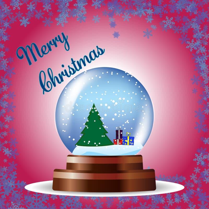 Weihnachtsgrußkarte mit Baum und Geschenke in einer Kugel auf rotem Hintergrund vektor abbildung
