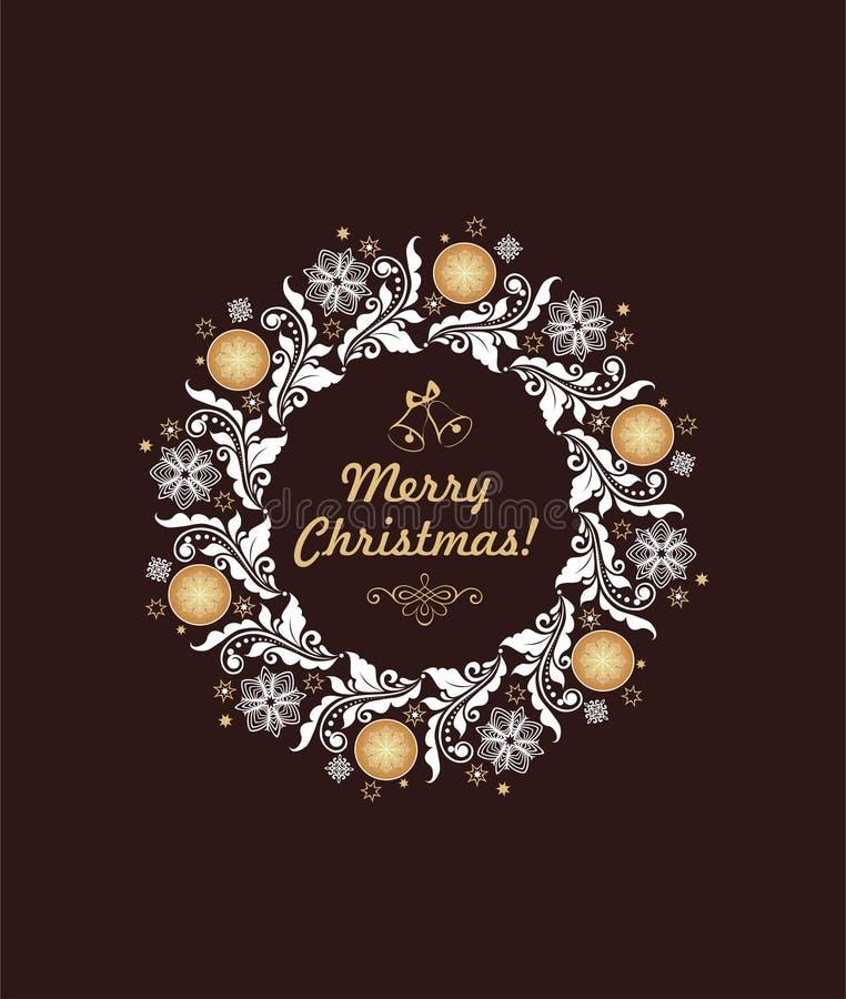 Weihnachtsgrußkarte mit Blumenpapier herausgeschnittenem Handwerksweihnachtskranz mit Flitter und Schneeflocken vektor abbildung