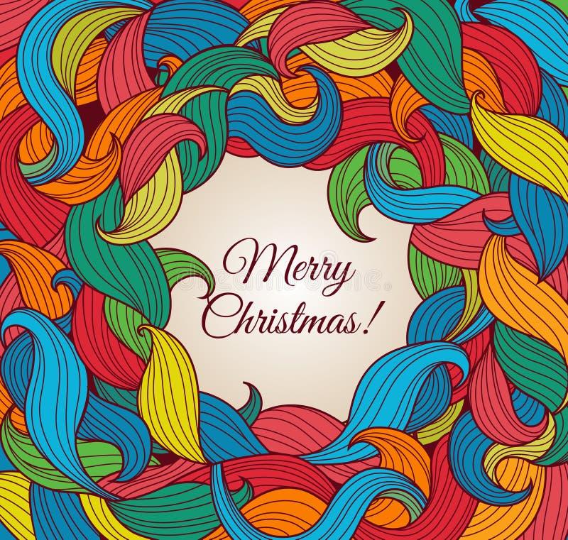 Weihnachtsgrußkarte mit bunten Rotationen stock abbildung