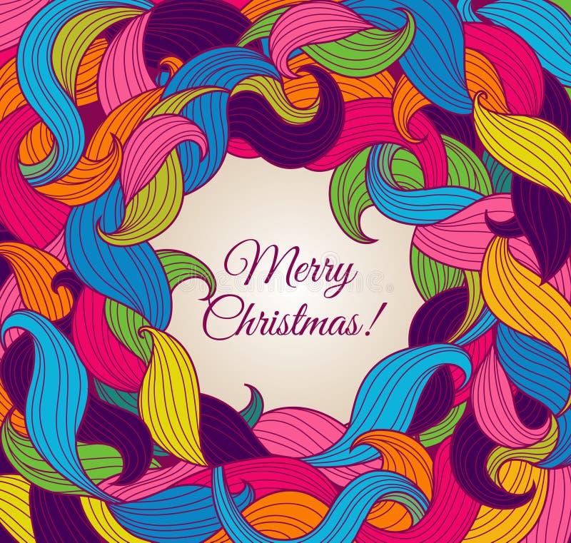 Weihnachtsgrußkarte mit bunten Rotationen vektor abbildung
