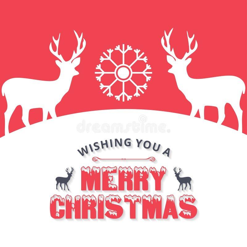 Weihnachtsgrußkarte mit dem Weihnachten lieb, Schneeflocken mit Re lizenzfreie abbildung