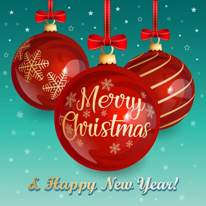 Weihnachtsgrußkarte mit den roten Weihnachtsbällen verziert mit einem roten Bogen auf dem Winterhintergrund vektor abbildung