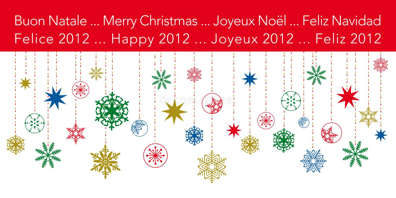 Weihnachtsgrußkarte mit hängenden Schneeflocken vektor abbildung