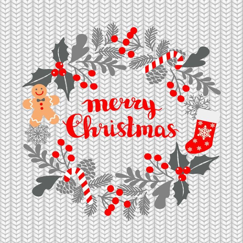 Weihnachtsgrußkarte mit Kranz, Weihnachtssocken und Lebkuchen Mann auf einem gestrickten nahtlosen Hintergrund Winter-Weihnachtsr stock abbildung