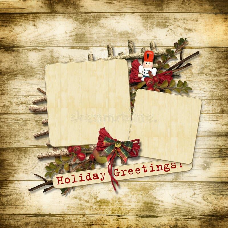 Weihnachtsgrußkarte mit Nussknacker vektor abbildung