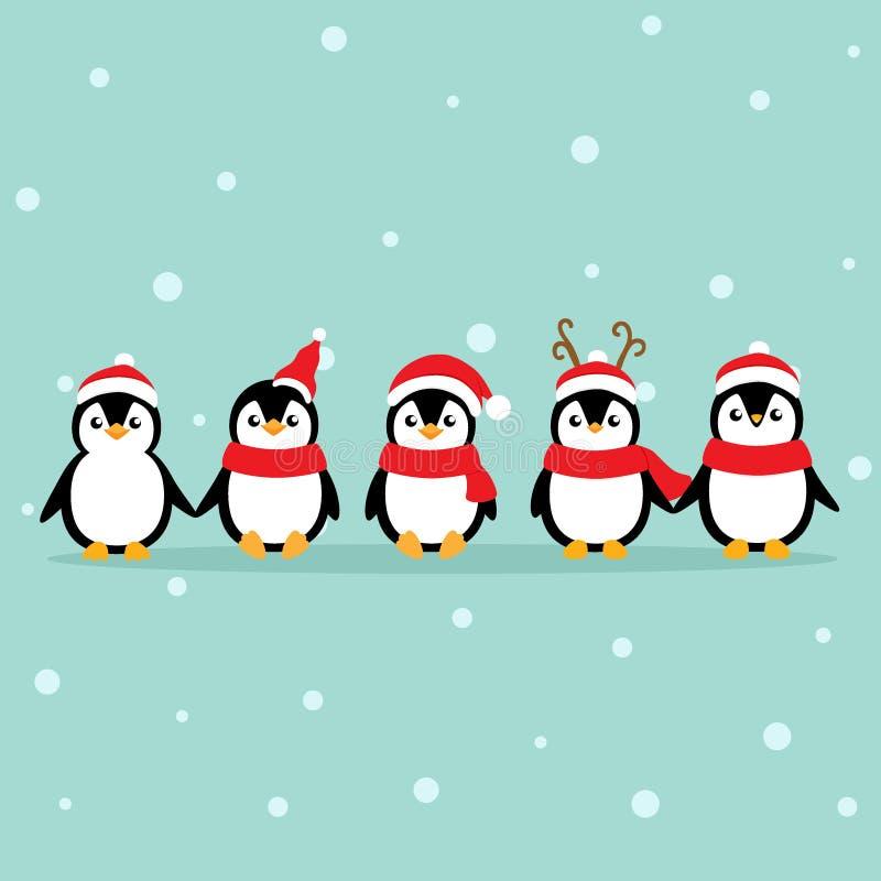 Weihnachtsgrußkarte mit Penguins-Cartoon Vector-Illustration lizenzfreie abbildung