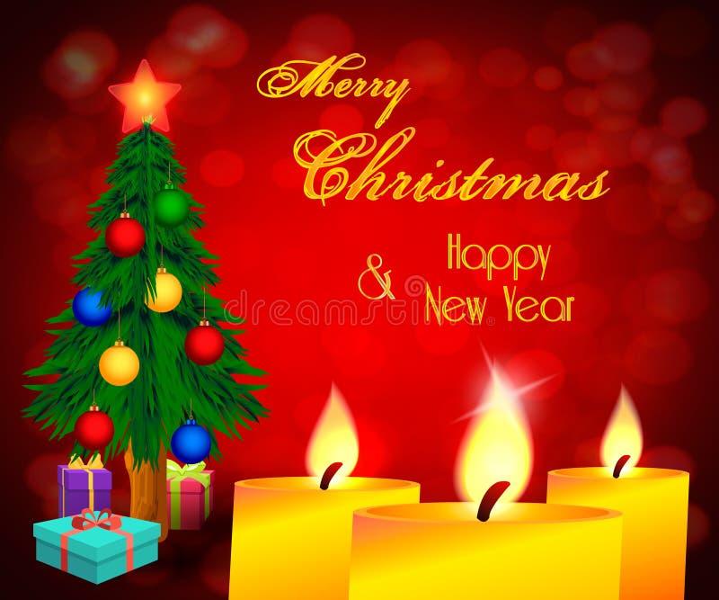 Weihnachtsgrußkarte mit rotem bokeh Hintergrund, Weihnachtsbaum, Geschenken und Kerzen lizenzfreie abbildung