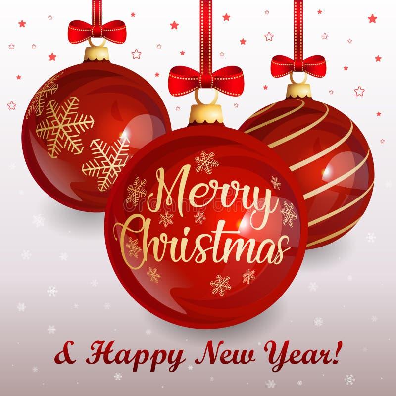 Weihnachtsgrußkarte mit roten Glasweihnachtsbällen und roten Bögen auf Winterhintergrund mit Schneeflocken und Sternen lizenzfreie abbildung