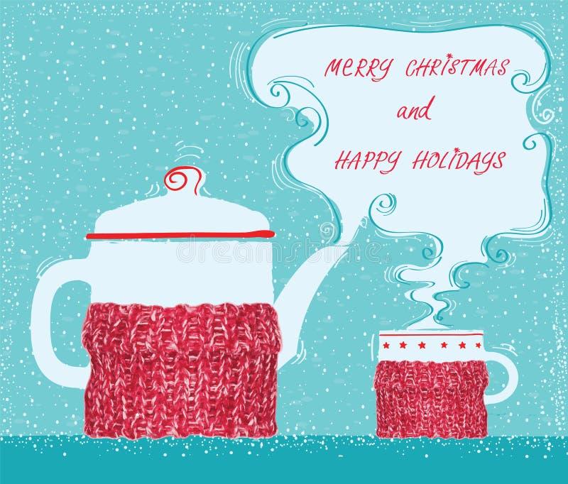 Weihnachtsgrußkarte mit Schalentee und Kesselhintergrund stock abbildung