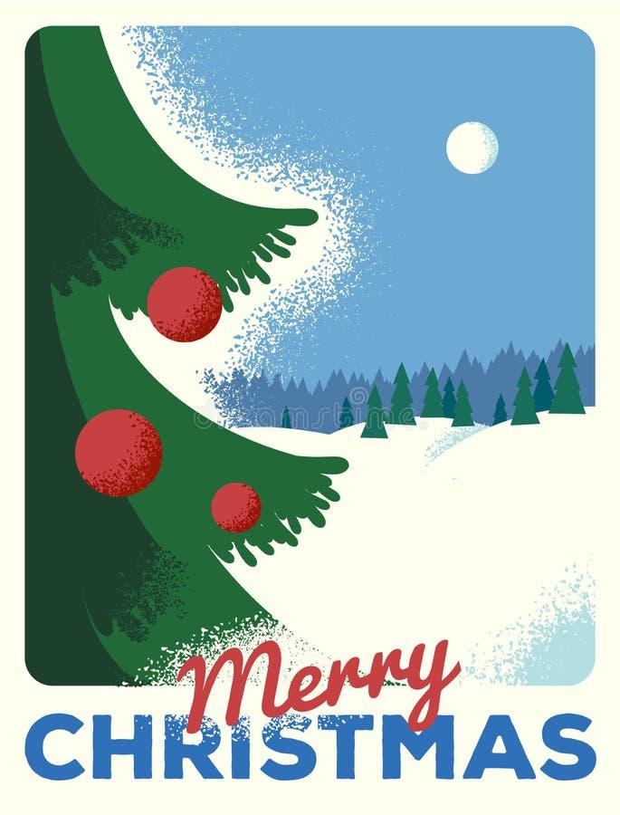 Weihnachtsgrußkarte mit Tanne, Retro- angeredet mit verkratztem Papier stock abbildung