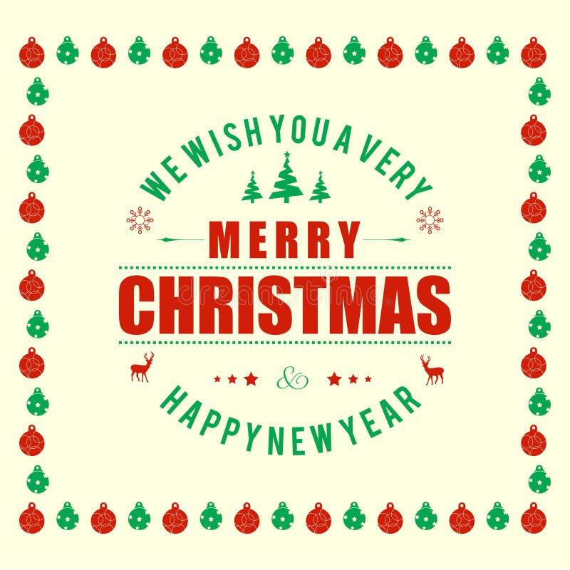 Weihnachtsgrußkarte mit Weihnachtsballmuster, Baum, lieb lizenzfreie abbildung