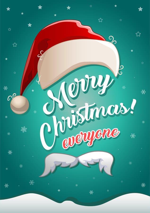 Weihnachtsgrußkarte mit Weihnachtsmann-Hut, dem weißen Schnurrbart und Glückwunschtext stock abbildung