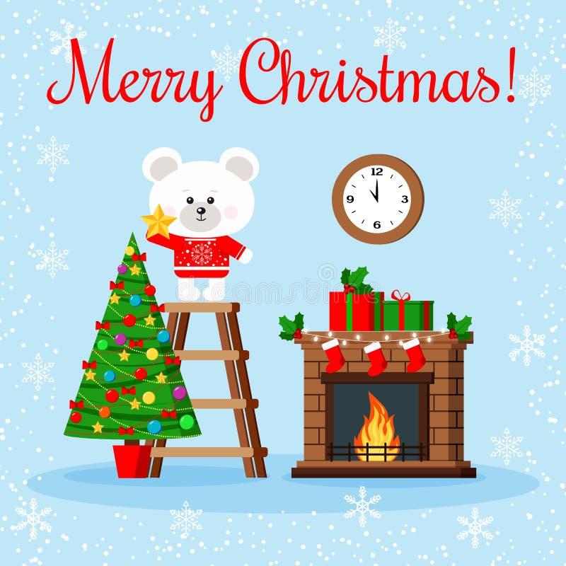 Weihnachtsgrußkarte: netter Eisbär in der roten Strickjacke setzt Stern auf eine Oberseite des verzierten Weihnachtsbaums lizenzfreie abbildung