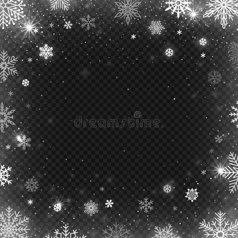 Weihnachtsgrußkarte, Vektor Winter schneite Grenze, Frostschneeflocke und Weihnachtskaltes Blizzardschnee-Grußkartenvektordesign vektor abbildung