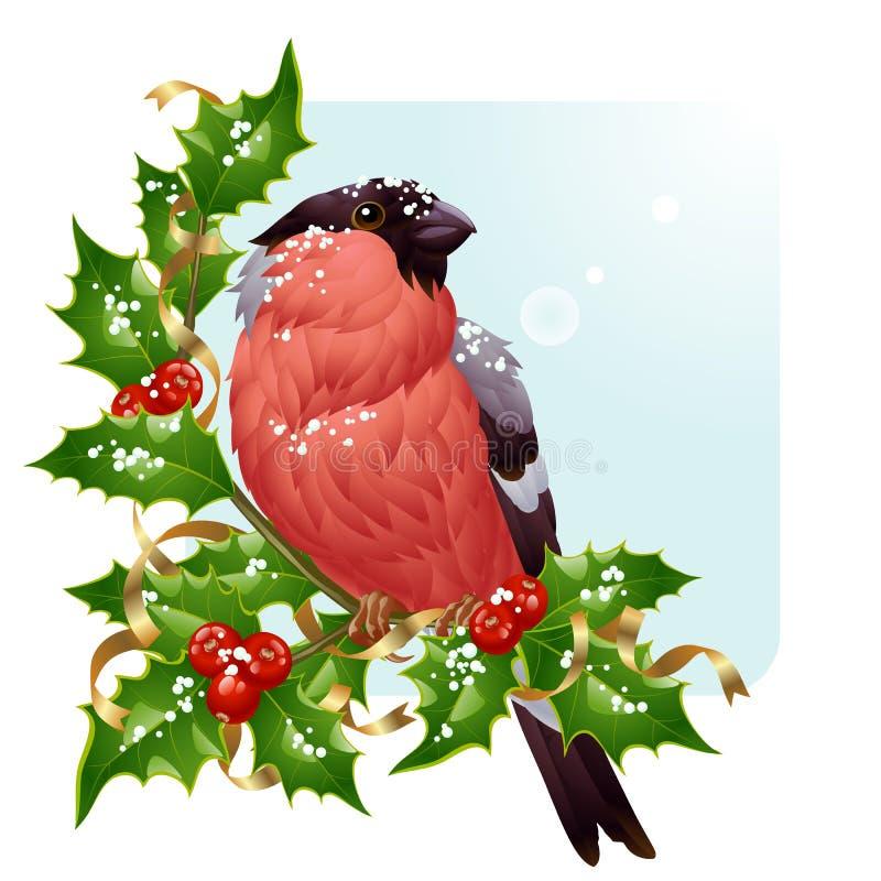 Weihnachtsgrußkarte. Vektorbullfinch lizenzfreie abbildung
