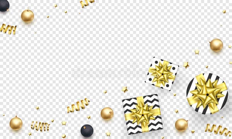 Weihnachtsgrußkarten-Schablone backgorund von goldenen Funkelnkonfettis, Geschenkbox mit Goldbandbogen für Winterurlaub des neuen lizenzfreie abbildung