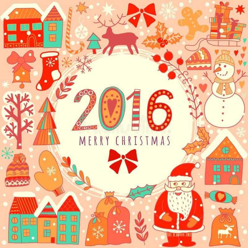 Weihnachtsgrußkartenschablone, vector frohe Weihnachten Winterurlaubdesign, Rahmenkranzdesign gemacht von den kindischen Gekritze stock abbildung