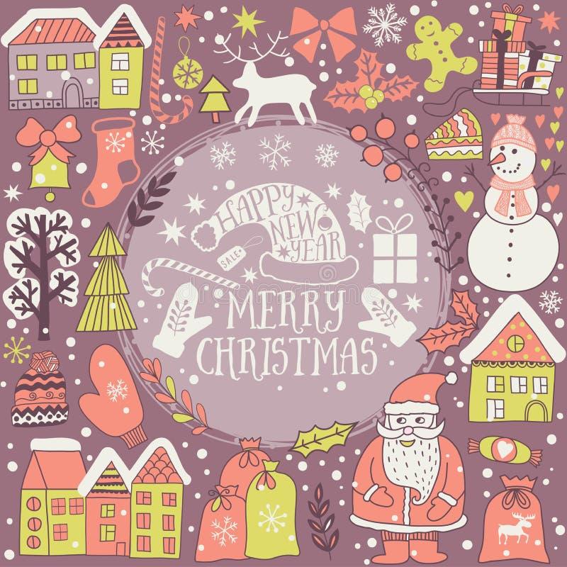 Weihnachtsgrußkartenschablone, vector frohe Weihnachten Winterurlaubdesign, Rahmenkranzdesign gemacht von den kindischen Gekritze vektor abbildung