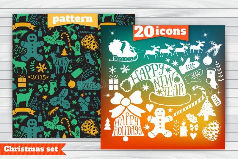 Weihnachtsgrußkartenschablone, vector Sammlung der frohen Weihnachten, Bündelikonen des neuen Jahres, Element für Weihnachtsdesig vektor abbildung