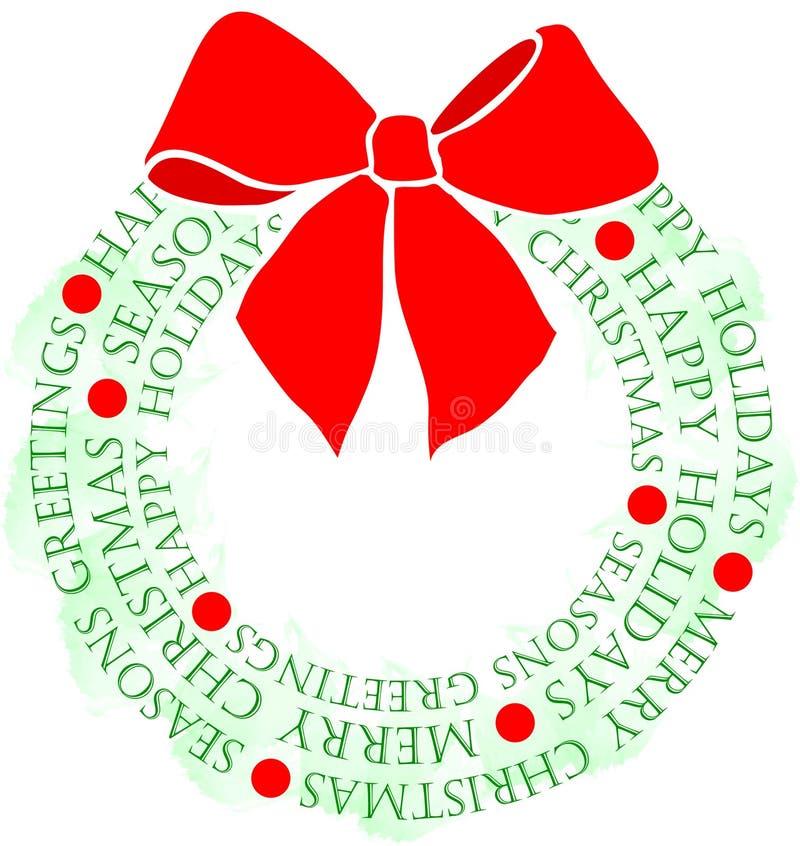 WeihnachtsgrußWreath lizenzfreie abbildung