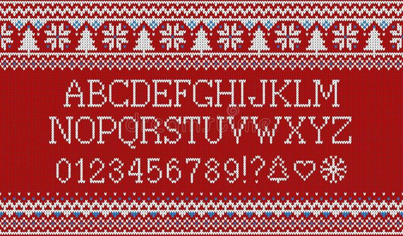 Weihnachtsguß Gestricktes lateinisches Alphabet auf nahtlosem gestricktem Muster mit Schneeflocken und Tanne Nordisches angemesse stock abbildung