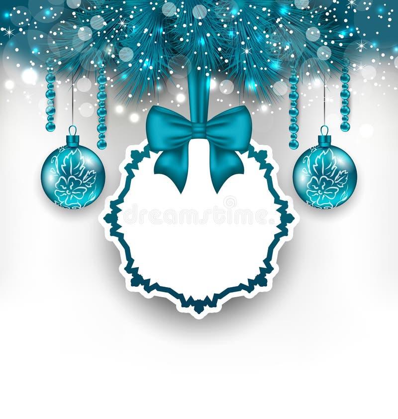 Weihnachtsgutschein mit Glaskugeln stock abbildung