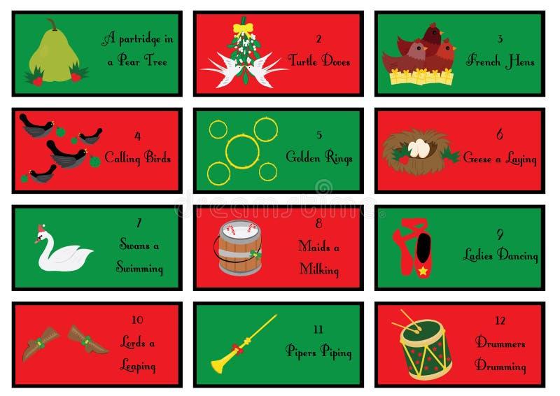 12 Weihnachtsgutscheine mit den zwölf Tagen von Weihnachten lizenzfreie abbildung