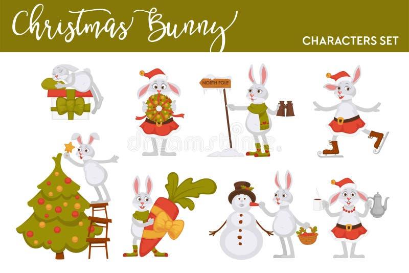 Weihnachtshäschen Sankt-Zeichentrickfilm-Figur-Vektorikonen für Gruß-Kartendesignschablone des neuen Jahres vektor abbildung