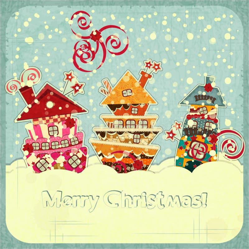 Weihnachtshäuser und -schnee stock abbildung