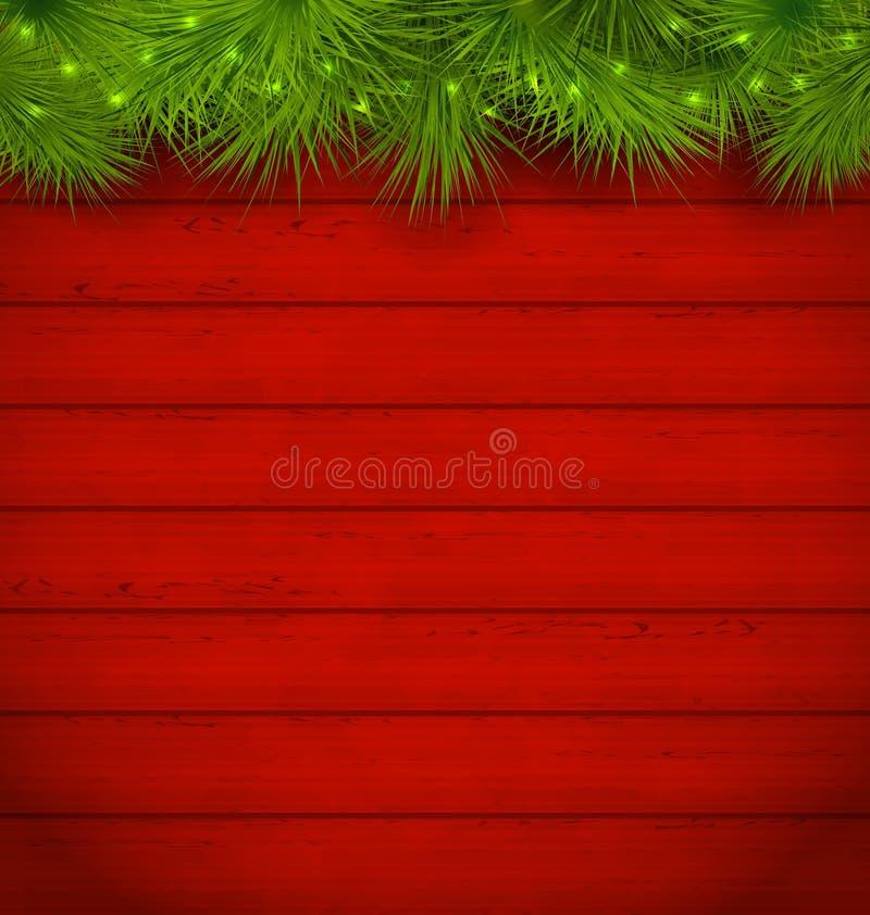 Weihnachtshölzerner Hintergrund mit den Tannenzweigen vektor abbildung