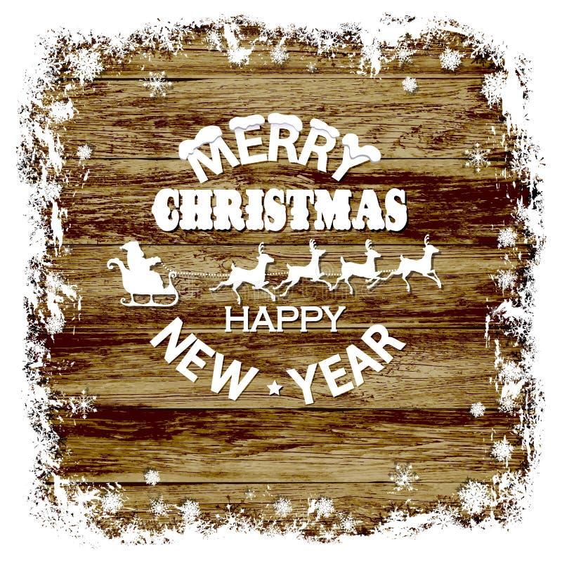 Weihnachtshölzerner Hintergrund, Schneerahmen, Santa Claus, Ren auf einem hölzernen Hintergrund stock abbildung