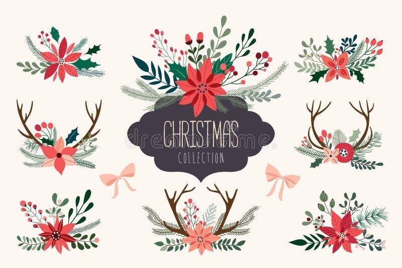 Weihnachtshand gezeichnete Blumensträuße stock abbildung
