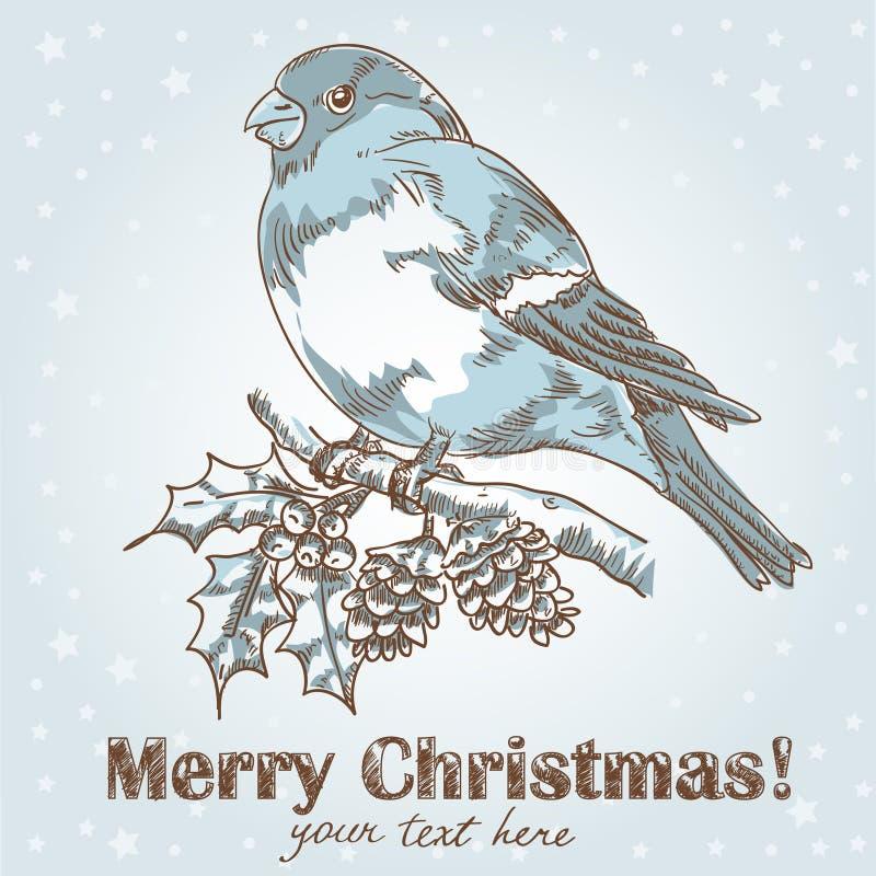 Weihnachtshand gezeichnete Tintenkarte mit Bullfinch stock abbildung