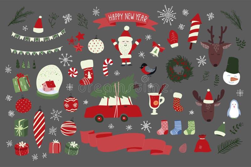Weihnachtshand gezeichneter Element-Satz Neujahrsfeiertagzeichen vektor abbildung