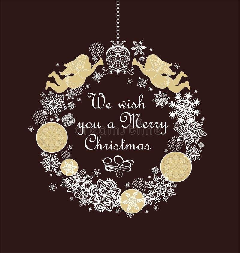 Weihnachtshandwerkskranz mit handgemachten goldenen Engeln, Flitter, Papier, das weiße Schneeflocken und Glocke für Weihnachtsgrü stock abbildung