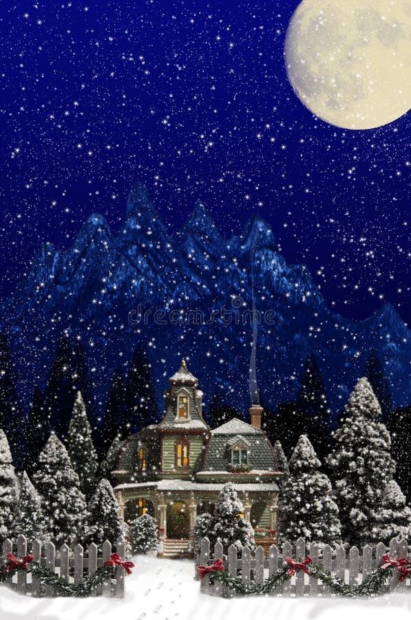 Weihnachtshaus-Palisadenzaun lizenzfreies stockbild