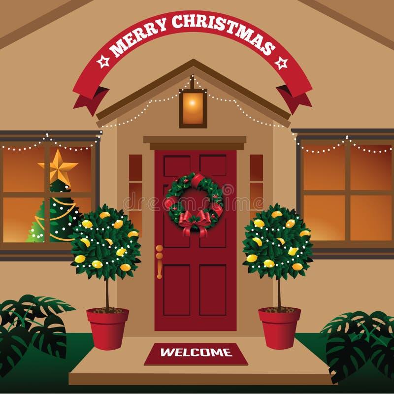 Weihnachtshaustür in einem warmen Klima mit tropischen Anlagen stock abbildung
