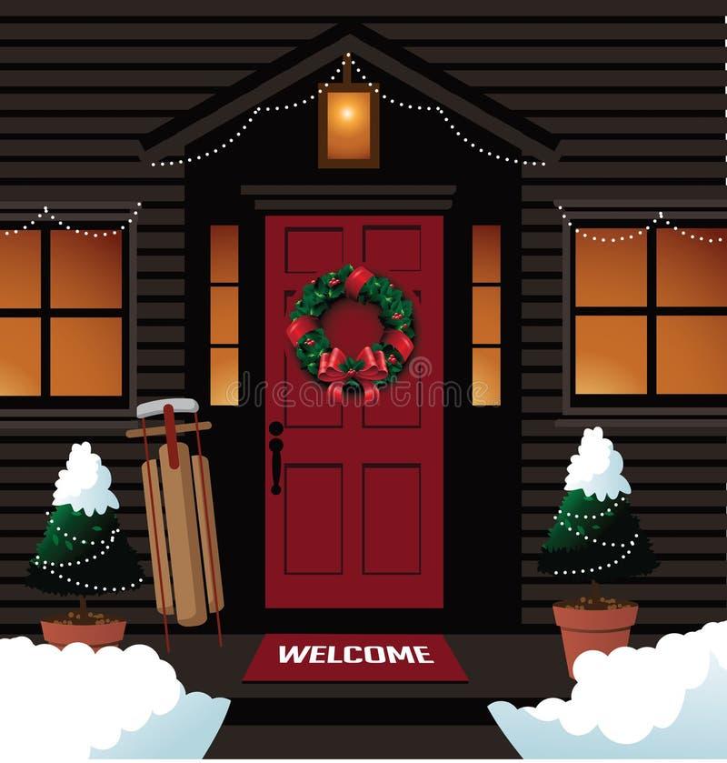 Weihnachtshaustür mit Pferdeschlittenkranz und -bäumen lizenzfreie abbildung
